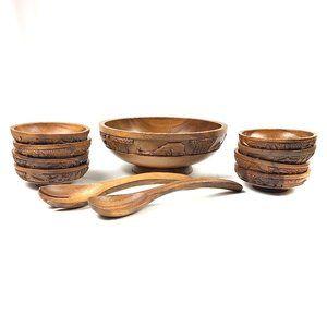 Vintage 70s Hand Carved Teak Wood Salad Bowl Set